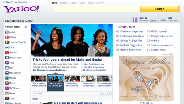 Yahoo tests touch-friendly homepage redesign