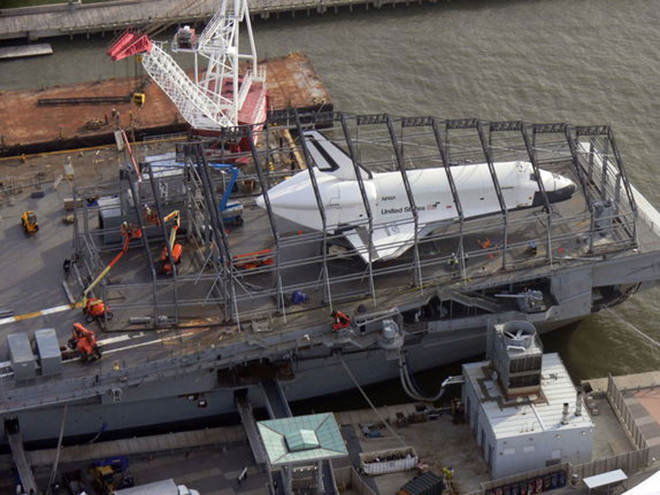 Space shuttle Enterprise's new home takes shape at NYC ...