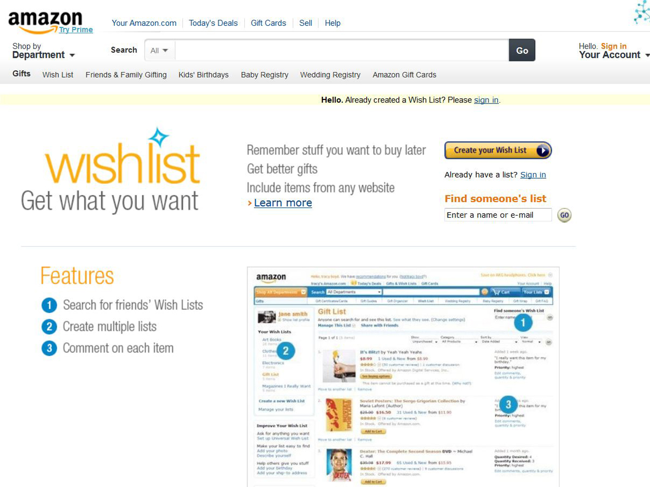 Amazon Liste