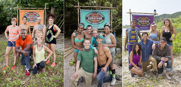"From left, the Brawn, Brains and Beauty tribes on ""Survivor: Cagayan."""