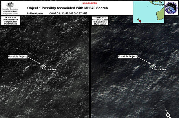 A satellite image taken on March 16, 2014 and released by the Australian Maritime Safety Authority shows debris believed to be possible wreckage from Malaysia Airlines Flight 370 in the Indian Ocean