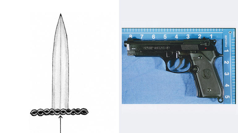Investigators say the intruder was armed with unusual weapons: a dagger with an ornate hilt, resembling this police sketch, and a prop gun, like this one made by Brixia.