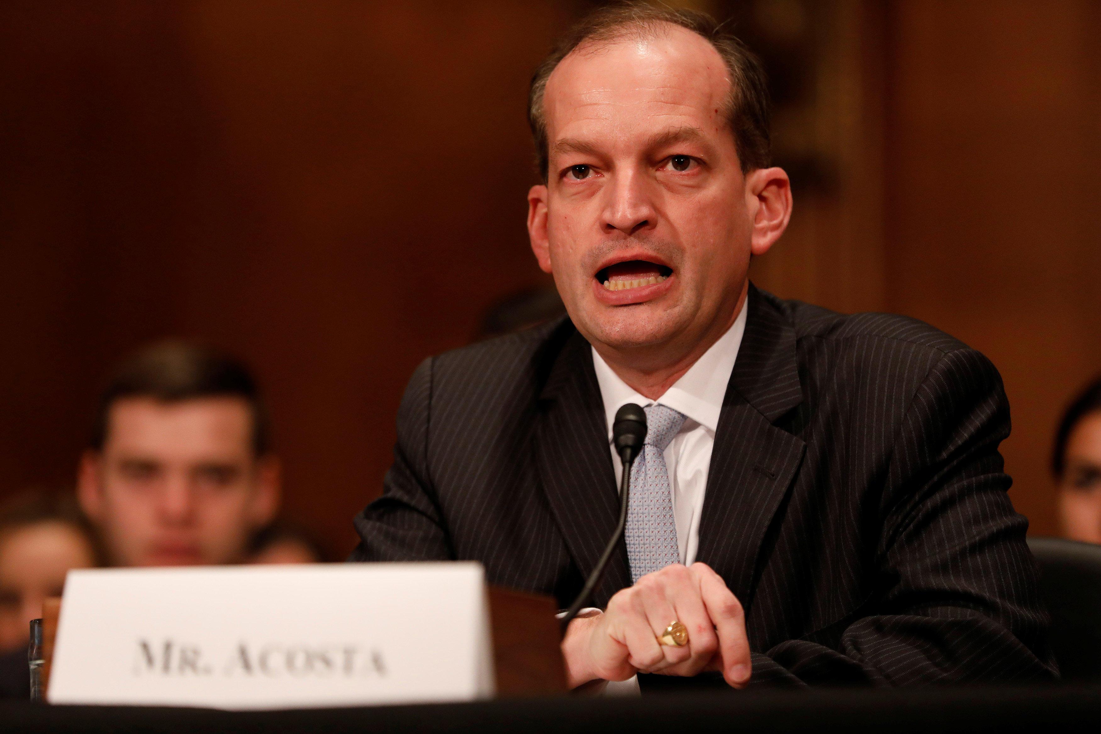 Senate confirms Alex Acosta as labor secretary, filling out Trump's cabinet