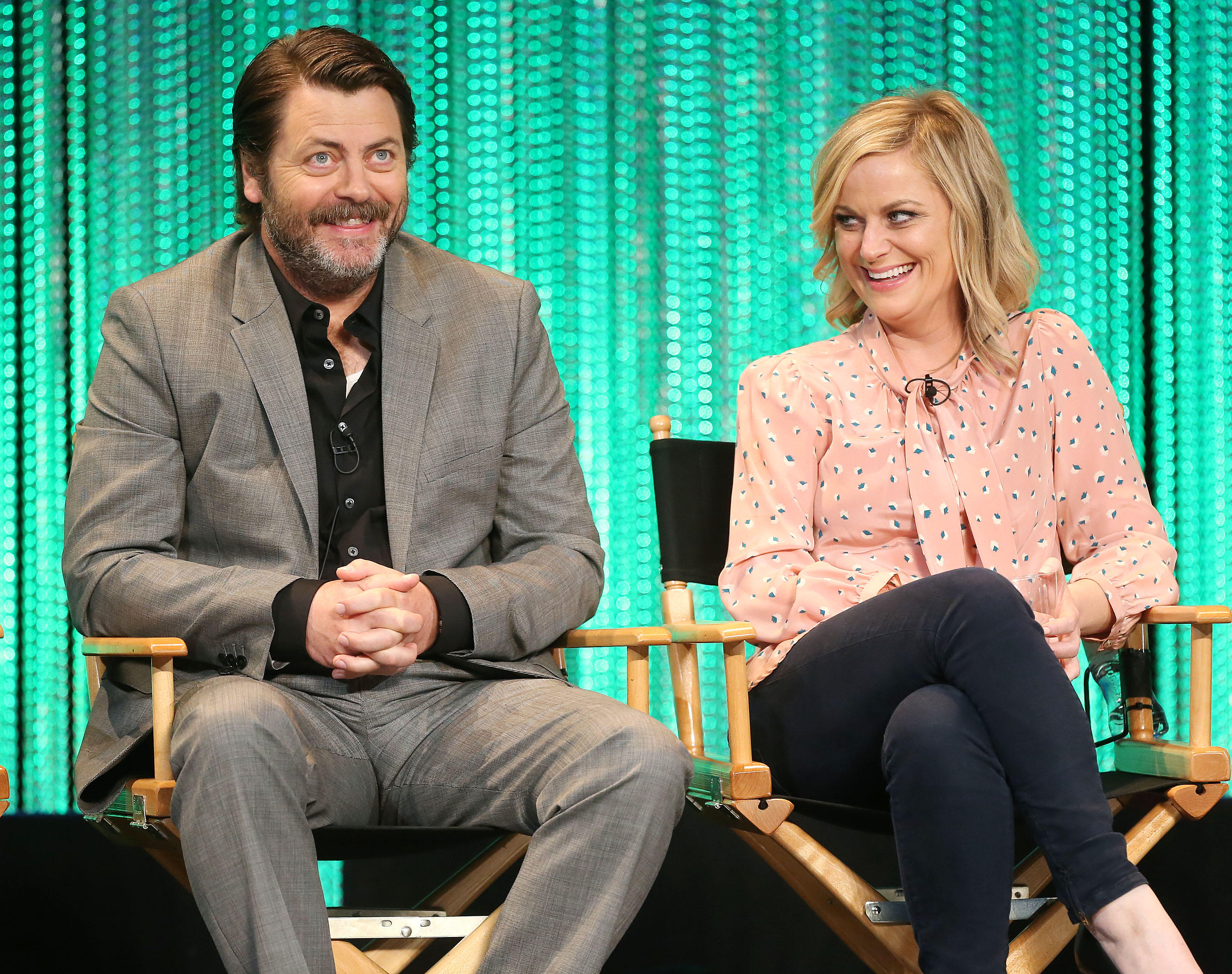 nick offerman and amy poehler reunite to host reality show cbs news. Black Bedroom Furniture Sets. Home Design Ideas