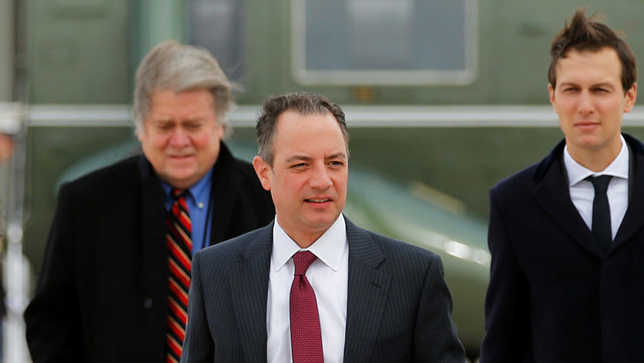 c268cb44494a7 Steve Bannon, Reince Priebus and Jared Kushner arrive to board Air Force  One with U. S. President Donald Trump to travel to Michigan from Joint Base  Andrews ...