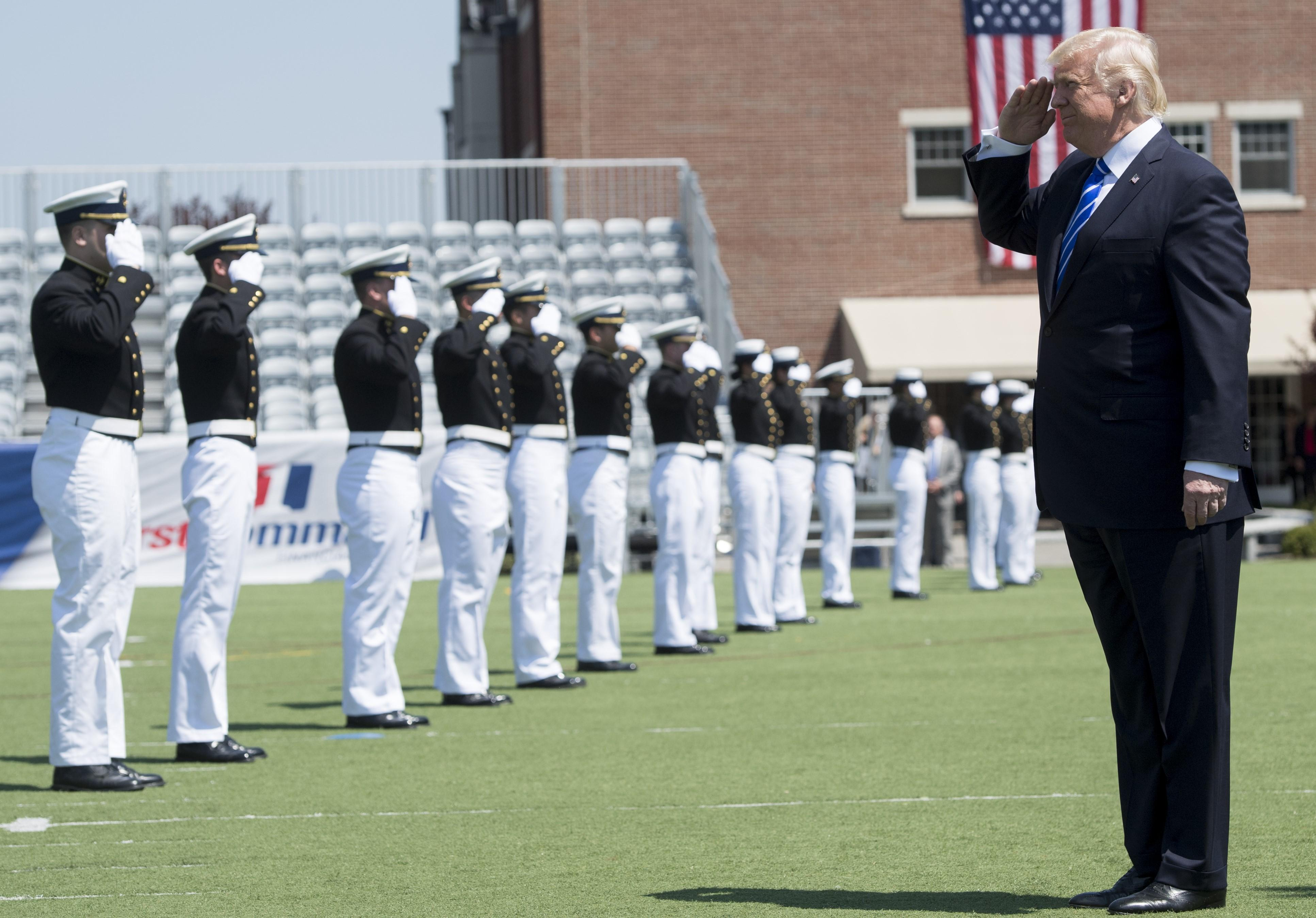 22bc4d5e897 ... President Donald Trump stepped away from Washington to deliver the  commencement address at the U. S. Coast Guard Academy in New London