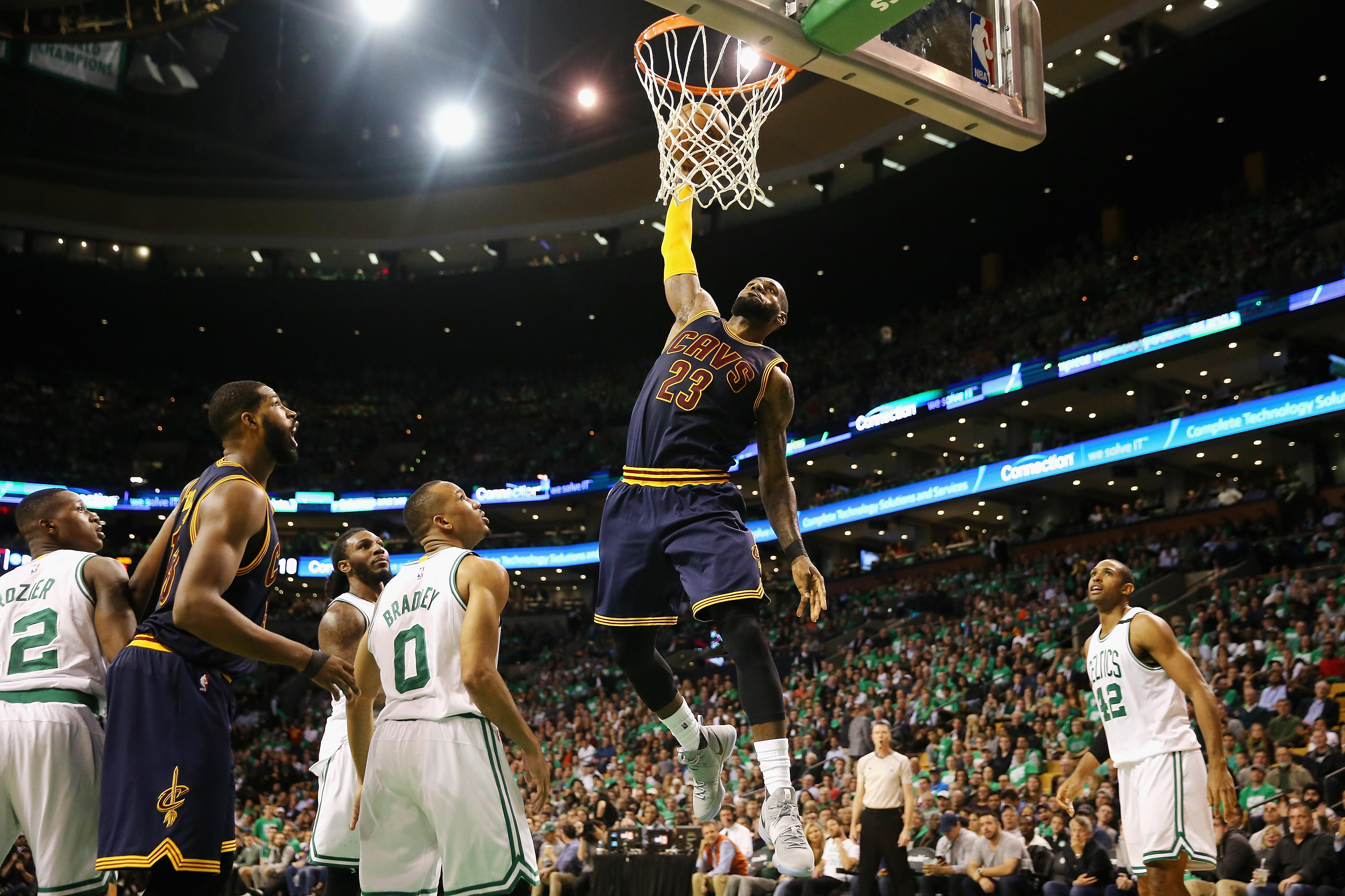 LeBron James  23 of the Cleveland Cavaliers dunks in the third quarter  against the Boston Celtics during Game Five of the 2017 NBA Eastern  Conference Finals ... 6aa75a39efbb