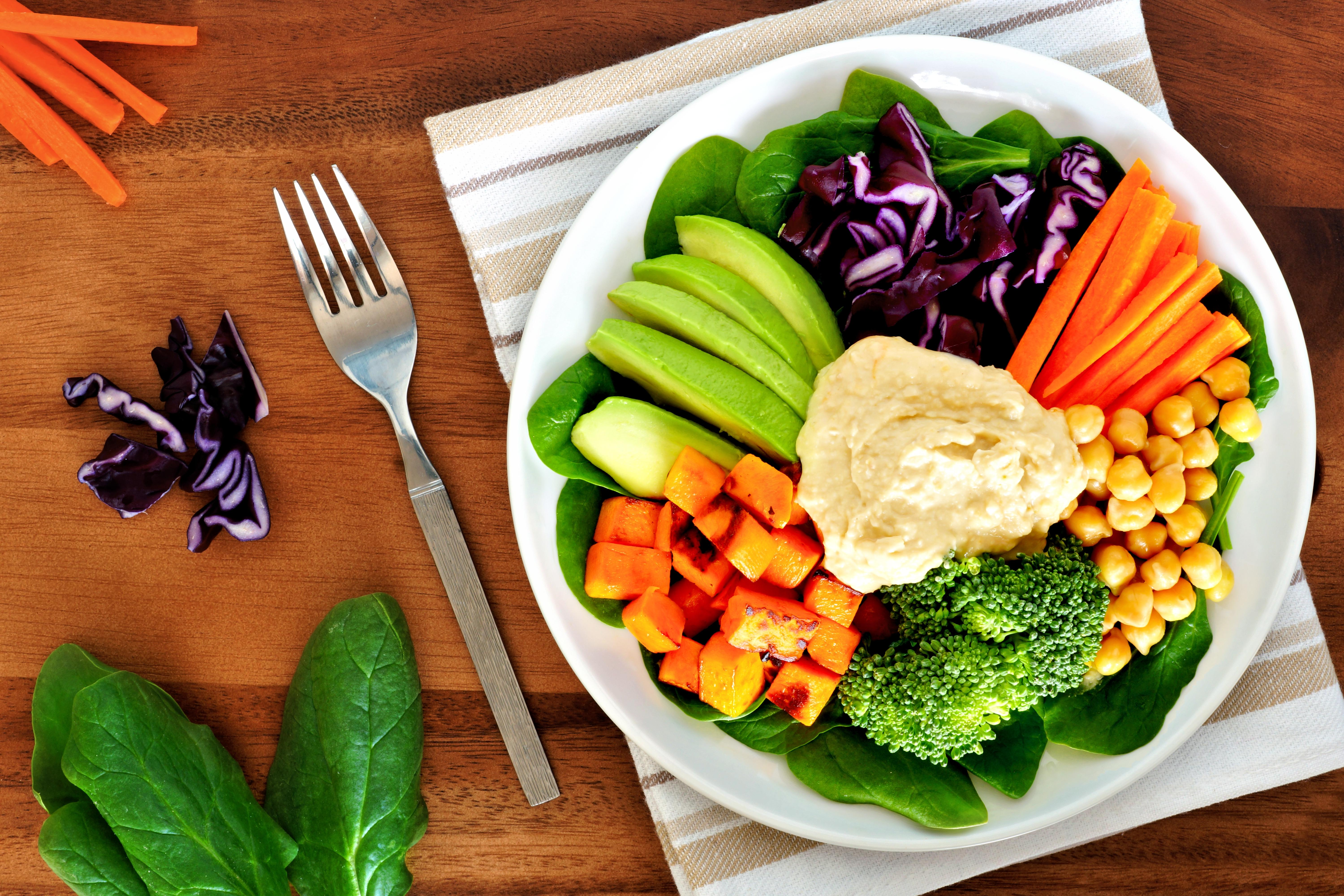 vegetables healthy lunch eat fresh table hummus eating way avocado bowl foods health overhead wooden scene researchers kidney right clever