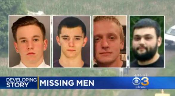382a3d88b292 Authorities have found human remains in their search for four missing young  Pennsylvania men and have identified one victim