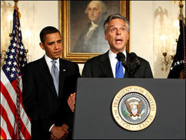 President Barack Obama announces the nomination of Utah Governor Jon Huntsman to U.S. Ambassador to China in the Diplomatic Room at the White House, Saturday, May 16, 2009, in Washington.