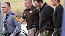 Christopher Speight being escorted by Appomattox State police Jan. 20