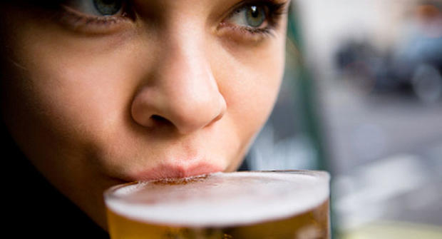 woman drinking beer, generic, stock
