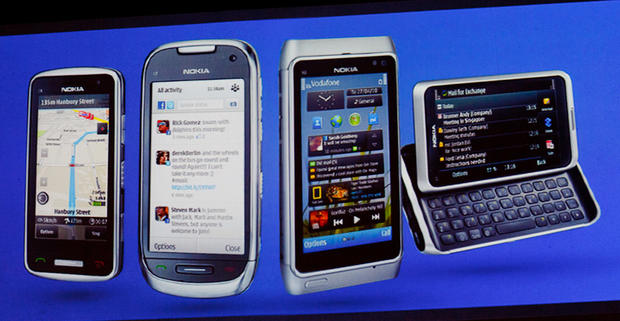 Nokia's new Symbian phone lineup has three new phones. From left to right are the new C6, the new C7, the previously announced flagship N8, and the new E7.