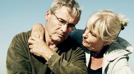grieving man, couple, senior, mature, sad, dementia, Alzheimer's, generic, 4x3