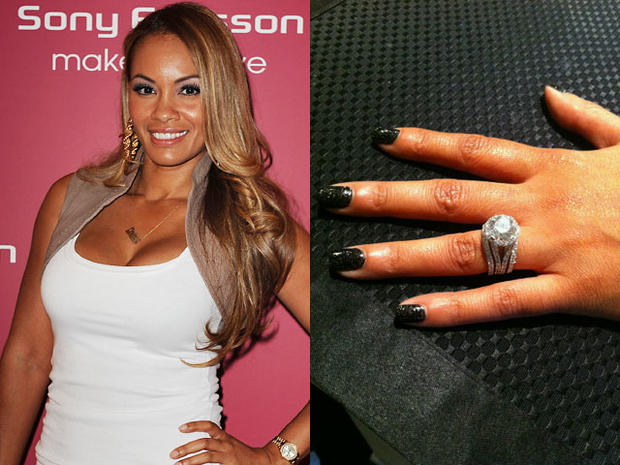 Evelyn Lozada, left, showed off her bling engagement ring, right, on Twitter.