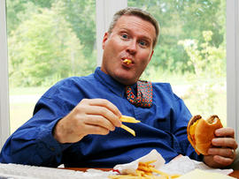 man, hamburger, fries, istockphoto, 4x3