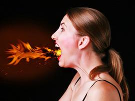 heartburn, heart burn, angry, woman, fire, fire breather, generic, 4x3