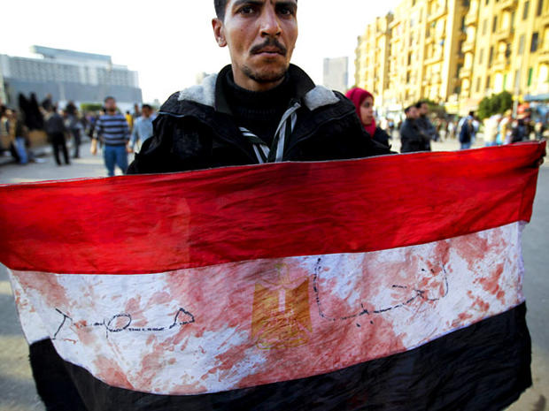 Anti-government protestor in Tahrir Sqaure, Cairo