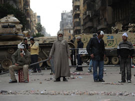 Protesters near Cairo's Tahrir Square