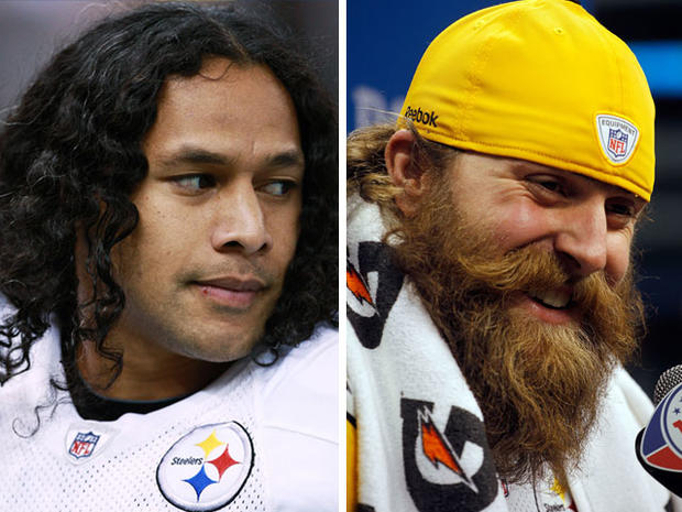 Troy Polamalu, left Brett Keisel and of the Pittsburgh Steelers.