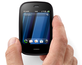 "HP's tiniest WebOS phone, the ""Veer."""