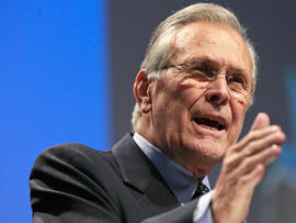 Former Defense Secretary Donald H. Rumsfeld addresses the Conservative Political Action Conference