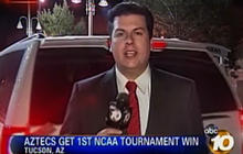 Reporter nearly run over during liveshot