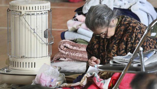 Elderly Japanese earthquake refugee