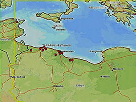 Sites of coalition missile strikes in Libya