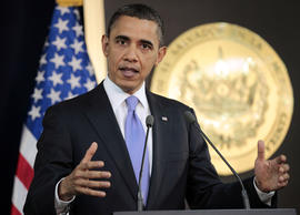 President Barack Obama answers question on the ongoing situation in Libya during his joint news conference with President of El Salvador Mauricio Funes at the National Palace in San Salvador, El Salvador, Tuesday, March 22, 2011.