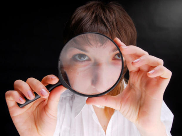 female detective, csi, crime scene investigation, private detective, magnifying glass, forensic, forensics, stock, 4x3