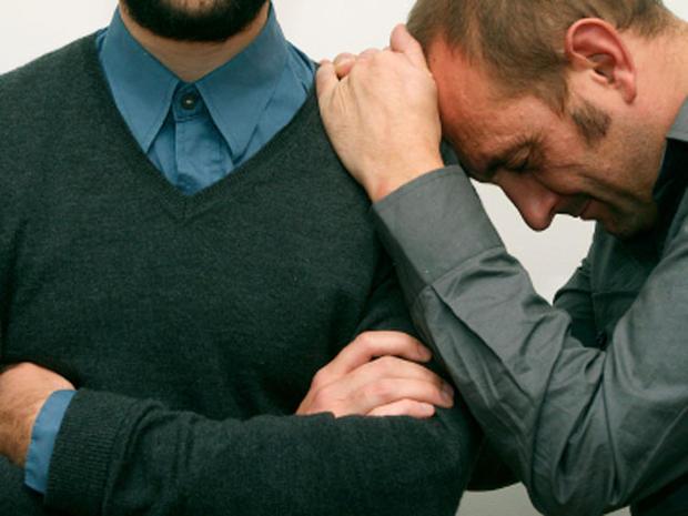 gay couple, two men, grieving, sad, homosexual men, homosexual couple, brothers, sad, stock, 4x3