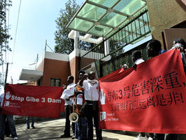 Protesters outside the Chinese Embassy in Nairobi