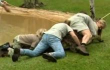 Steve Irwin's family tackles crocodiles