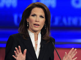 Rep. Michele Bachmann, R-Minn., answers a question during the first New Hampshire Republican presidential debate at St. Anselm College in Manchester, N.H., June 13, 2011.