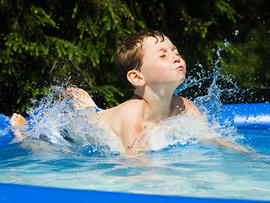 kid, boy, pool, portable pool, wading pool, swimming, summer, summertime, drowning, hot, weather, stock, 4x3