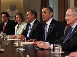 Obama with senior lawmakers in the Cabinet Room