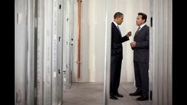 President Obama meets with Arnold Schwarzenegger, then governor of California, at Solyndra's construction site in Fremont, Calif., in May 2010.