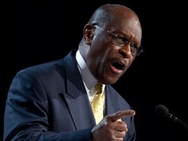Republican presidential hopeful Herman Cain gestures during a speech at the Values Voter Summit on Friday, Oct. 7, 2011, in Washington.