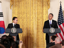 President Barack Obama and South Korean President Lee Myung-bak take part in a joint news conference in the East Room at the White House in Washington, Thursday, Oct. 13, 2011.