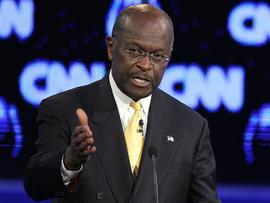 Republican presidential candidate businessman Herman Cain speaks during a Republican presidential debate, Oct. 18, 2011, in Las Vegas.