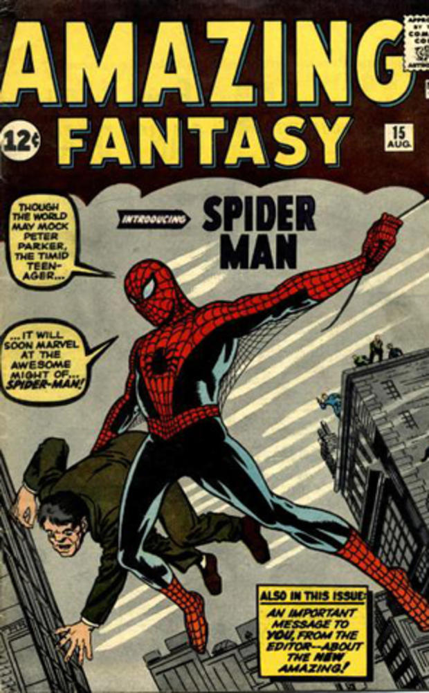 """一本罕见的蜘蛛侠漫画书""""神奇幻想15号""""是蜘蛛侠的首次亮相,并于1962年以12美分的价格出售。"""