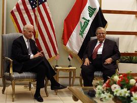 U.S. Vice President Joe Biden, left, and Iraqi President Jalal Talabani, right, attend a meeting in Baghdad, Iraq, Nov. 30, 2011.