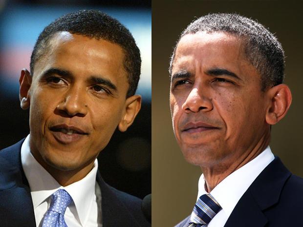 奥巴马总统在第一任期内老去