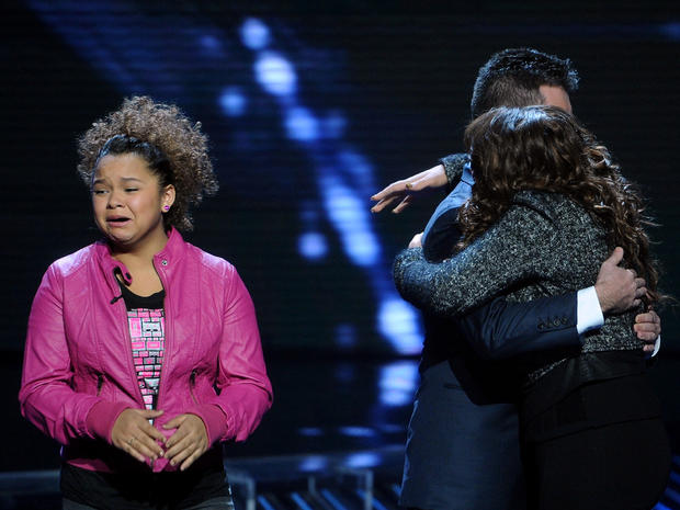 """The X Factor"" contestant Rachel Crow cries during elimination"