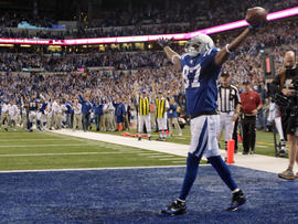 Reggie Wayne exults after his touchdown catch