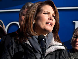 Rep. Michelle Bachmann, R-Minn., speaks to reporters Jan. 2, 2012, in West Des Moines, Iowa.