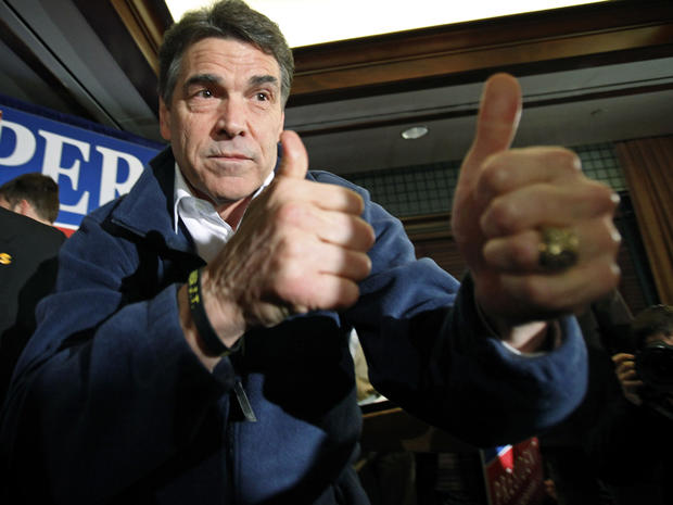 Texas Gov. Rick Perry reacts after speaking to local residents during a campaign stop at the Hotel Pattee Jan. 2, 2012, in Perry, Iowa.