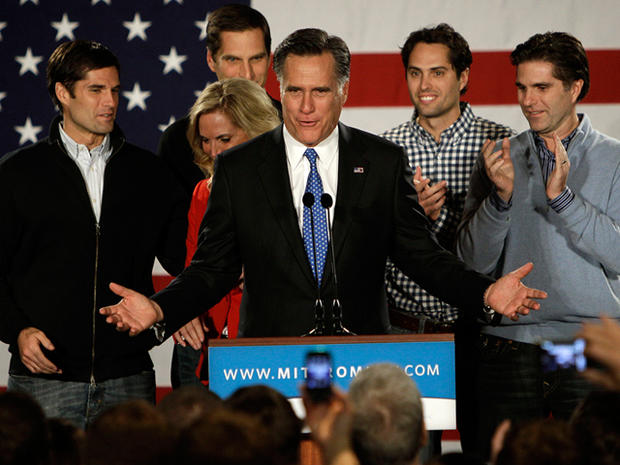 Republican presidential candidate, former Massachusetts Gov. Mitt Romney addresses supports with his family behind him during a Romney for President Iowa Caucus night rally in Des Moines, Iowa, Tuesday, Jan. 3, 2012.
