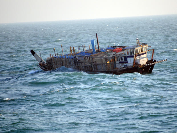 A port beam view photograph of the Iran-flagged dhow, Ya-Hussayn, taken from the U.S. Coast Guard Cutter Monomoy (WPB-1326). The cutter rendered assistance to six Iranian mariners who had to abandon the Ya-Hussayn after its engine room flooded. Monomoy is assigned to Commander, Task Force (CTF) 55, supporting maritime security operations and theater security cooperation efforts in the U.S. 5th Fleet area of responsibility
